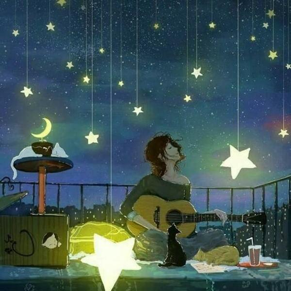 гитара под звездами