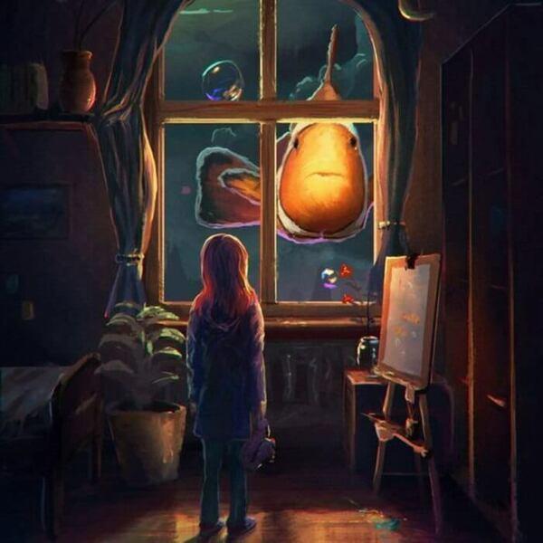 рыба в окне