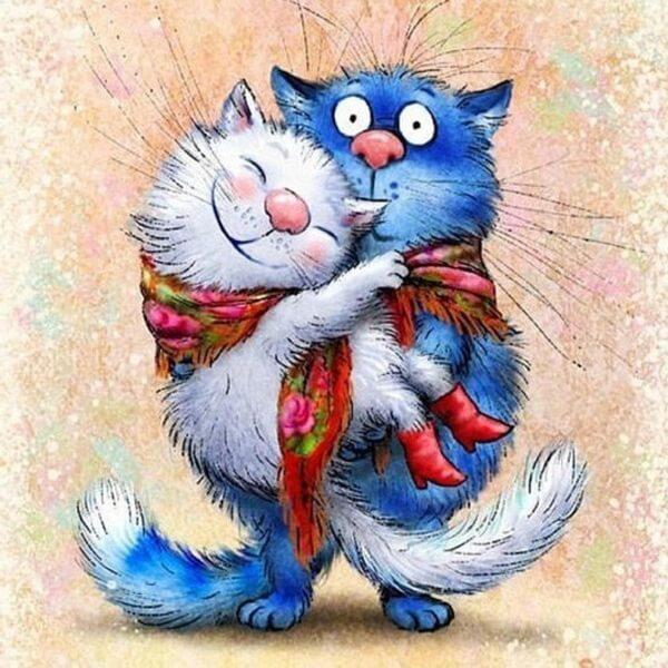синий кот и белая кошка