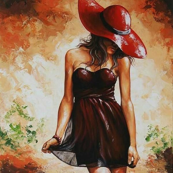 девушка в красной шлапе