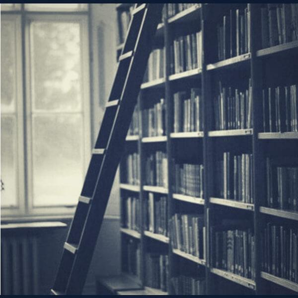 полка с множеством книг