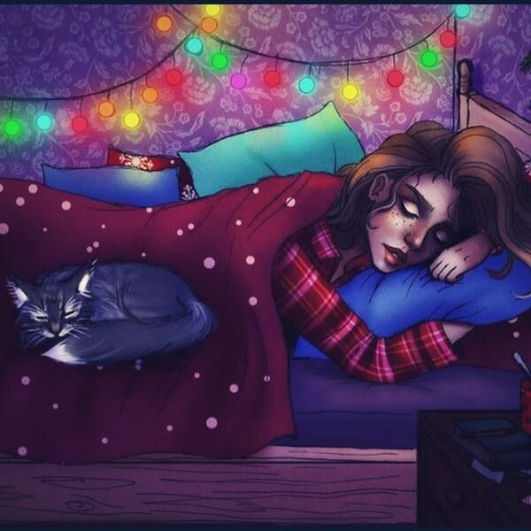 девушка спит на новый год